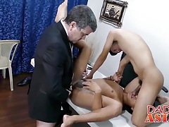 Three guys have bareback in the office