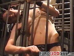 Twink from Europe playing with dildo and his cock
