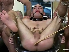 Dylan Deap gets his ass beaten and fucked by a group of queers