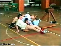 Four young queers shag each other raw in the gym