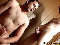 Young gays have fetish for peeing and stroking their cocks