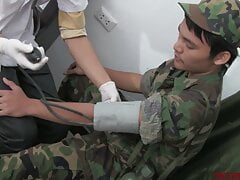 Skinny Asian soldier breeded by doctor after examined