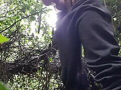 Jerking off and cumming outdoors
