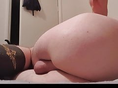 Smooth twink fucks ass with long black dildo