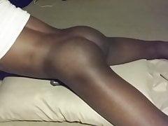 Black young man pillow humping cum handsfree